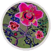 1046 - Pink Flower Simple Greeting Card   A Round Beach Towel