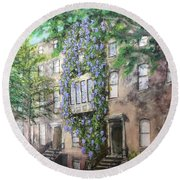 10th Street Wisteria Round Beach Towel