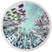 Abstract Digital Oil Painting Full Of Texture And Bright Color Round Beach Towel