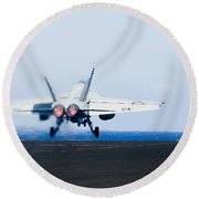 An Fa-18e Super Hornet Launches Round Beach Towel