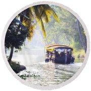 Backwaters Kerala - India Round Beach Towel