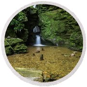 Beautiful Flowing Waterfall With Magical Fairytale Feel In Lush  Round Beach Towel