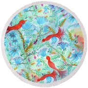 Birds Symphony Round Beach Towel