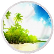 Graphic Landscape Round Beach Towel