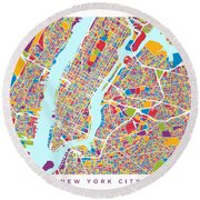 New York City Street Map Round Beach Towel