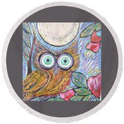 Owl Midnight Round Beach Towel