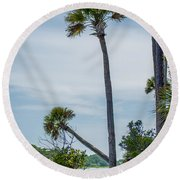 Palmetto Forest On Hunting Island Beach Round Beach Towel