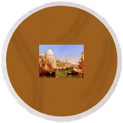 selous Henry Courtney A View Along The Grand Canal With Santa Maria Della Salute Henry Courtney Selous Round Beach Towel