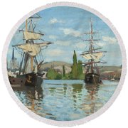 Ships Riding On The Seine At Rouen Round Beach Towel