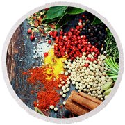 Spices And Herbs Round Beach Towel