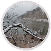 The Bass River In Winter Round Beach Towel