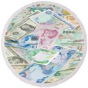 Travel Money - World Economy Round Beach Towel