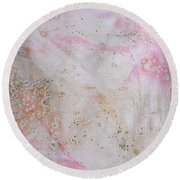 11. V2 Pink And Cream Texture Glaze Painting Round Beach Towel