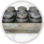 Whiskey Jars In A Crate Round Beach Towel