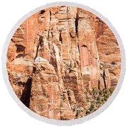 Zion Canyon National Park Utah Round Beach Towel