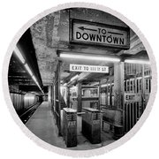 110th Street And Lenox Avenue Station - New York City Round Beach Towel