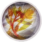 11315 Flower Abstract Series 03 #13 Round Beach Towel
