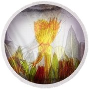 11322 Flower Abstract Series 03 #20 Round Beach Towel