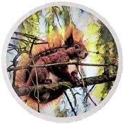 11451 Red Squirrel Sketch Round Beach Towel