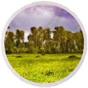 Landscape Nature Scene Round Beach Towel