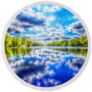 Nature Art Landscape Canvas Art Paintings Oil Round Beach Towel