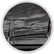 Ravenel Bridge Black And White Sunset Round Beach Towel