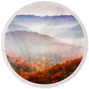 Nature Art Original Landscape Paintings Round Beach Towel