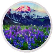 Nature Landscape Graphics Round Beach Towel