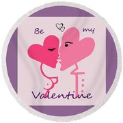 1198  Be My Valentine V Round Beach Towel