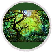 12 Abstract Japanese Maple Tree Round Beach Towel