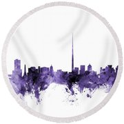 Dublin Ireland Skyline Round Beach Towel