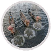 Fisherman Inle Lake - Myanmar Round Beach Towel