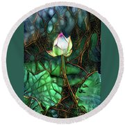 Jeweled Water Lilies Round Beach Towel