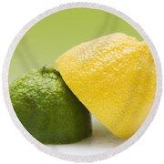12 Organic Lemon And 12 Lime Round Beach Towel