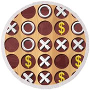 Tic Tac Toe Wooden Board Generated Seamless Texture Round Beach Towel