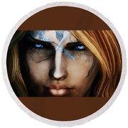 120941 The Elder Scrolls V Skyrim Wizard Blue Eyes Round Beach Towel