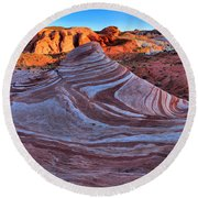 Fire Wave Panorama Round Beach Towel