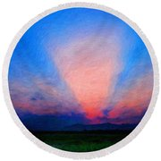 Painting Landscape Round Beach Towel