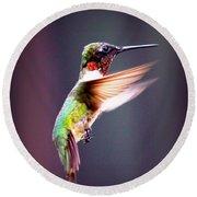 1257-006 - Ruby-throated Hummingbird Round Beach Towel