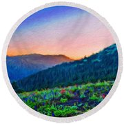 Nature Oil Canvas Landscape Round Beach Towel