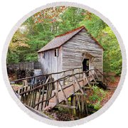 1267 Great Smoky Mountain Cable Mill Round Beach Towel
