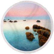 Nature Oil Canvas Landscape Round Beach Towel