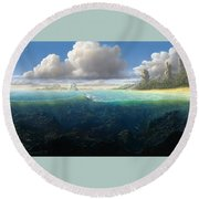 128098 Artwork Sea Fish Clouds Rock Formation Split View Round Beach Towel
