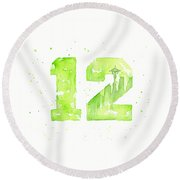 12th Man Seahawks Art Go Hawks Round Beach Towel