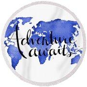 12x16 Adventure Awaits Blue Map Art Round Beach Towel