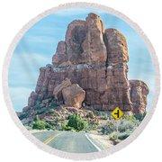 Arches National Park  Moab  Utah  Usa Round Beach Towel