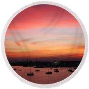 13- Crimson Dream Round Beach Towel