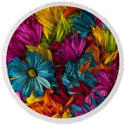 Daisy Petals Abstracts Round Beach Towel