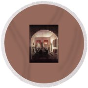 Jlm-1820-henry Sargent-the Dinner Party 782x1024 Henry Sargent Round Beach Towel