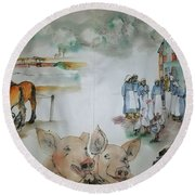 Land Of Clogs And Windmill Album Round Beach Towel